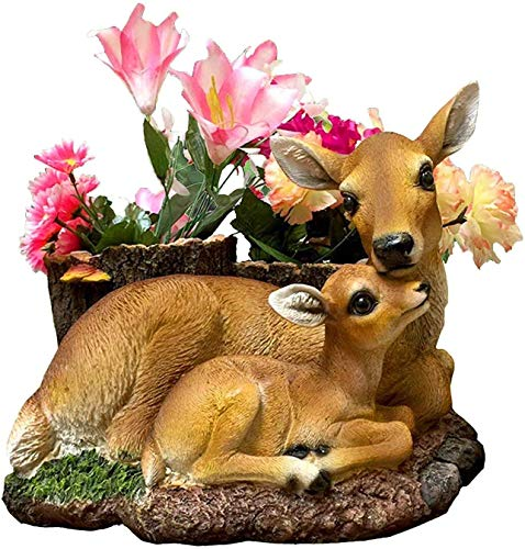 CT DISCOUNT STORE Adorable Deer Loving Family Outdoor Garden Statue Original Version (Charming Hand Painted Mother and Son Deer Planter)