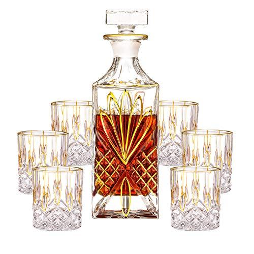 SALADAYS 7-Piece Whiskey Decanter Set, Gold Trim Whiskey Decanter with 6 Whiskey Glasses, Premium Quality Crystal Decanter Set for Liquor Scotch Bourbon(Classic Decanter Set)