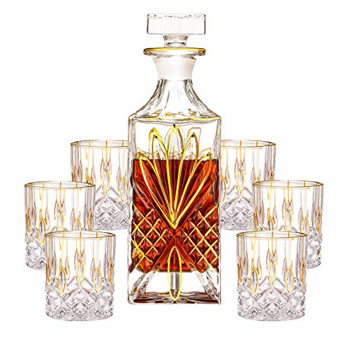 SALADAYS 7-Piece Whiskey Decanter Set, Gold Trim Whiskey Decanter with 6 Whiskey Glasses, Premium Quality Crystal Decanter Set for Liquor Scotch Bourbon(Ornate Decanter Set)