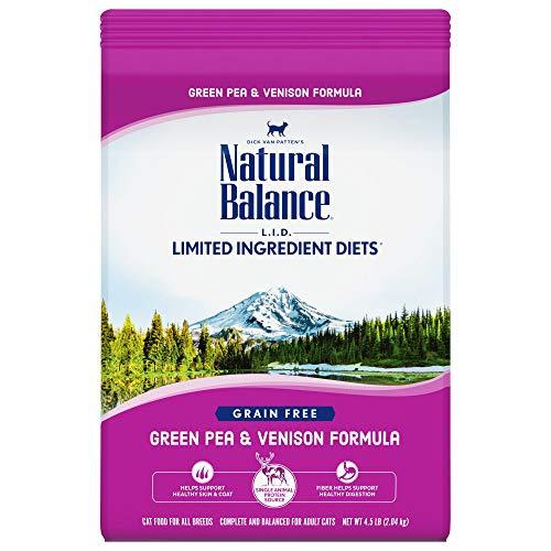 Natural Balance L.I.D. Limited Ingredient Diets Dry Cat Food, Green Pea & Venison Formula, 4.5 Pounds, Grain Free