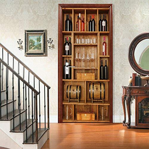 Pegatinas Puerta 3D Door Stickers Autoadhesivo-Armario para vinos-Vinilo Retirable 2pc Bricolaje Dormitorio Pegatinas Decorativas de Puerta 86x200cm