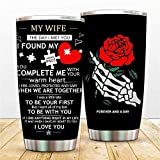 Funny Marriage Mugs Aniversary Coffee Cup, To Husband Wife Wedding Sporty Thermos, Skull Sunflower Rose 20 Oz Christmas Doulble Walled Bottle