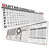 Guitar Chord Chart Poster Bundle of Guitar Chords Scales Triads Tone, Laminated Guitar Chord Chart Poster for Guitar Beginner Adult or Kid to Learn Acoustic Electric Guitar, Set of 2