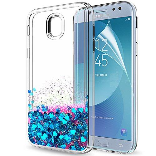 LeYi Compatible with Funda Samsung Galaxy J5 2017 Silicona Purpurina Carcasa con HD Protectores de Pantalla,Transparente Cristal Bumper Telefono Gel TPU Fundas Case Cover para Movil J5 2017 ZX Azul