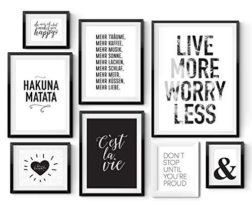 8er Poster Set in verschiedenen Größen! 10x15, 13x18, A4 und A3. Wanddeko von MARELLE. Beste Poster, Wandbild, Spruchbilder, schwarz weiß, Geschenk, Gallery Wall, Komplett Set 2570