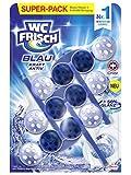 WC-Frisch Kraft Aktiv Blauspüler Chlor, WC-Reiniger und Farbspüler für hygienische Sauberkeit, mit 50 Prozent mehr Glanz 3er Pack (3 x 1 Stück)