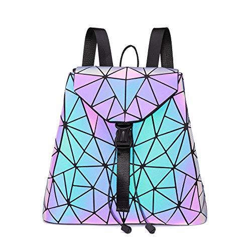 LOVEVOOK Geometrischer Rucksack Damen, Holographic Reflective Backpack Leuchtend Daypack für Schule Uni Reise Party Lila