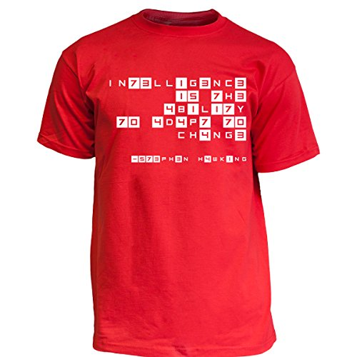 Nukular T-Shirt Intelligence Leetspeak - Stephen Hawking, Farbe rot, Größe XXL
