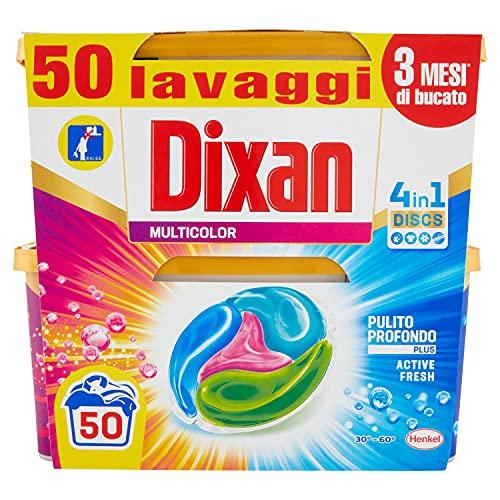Dixan Discs Multicolor Detersivo Lavatrice Predosato in Capsule 4 in 1 Capi Colorati, 2 x 25 Lavaggi