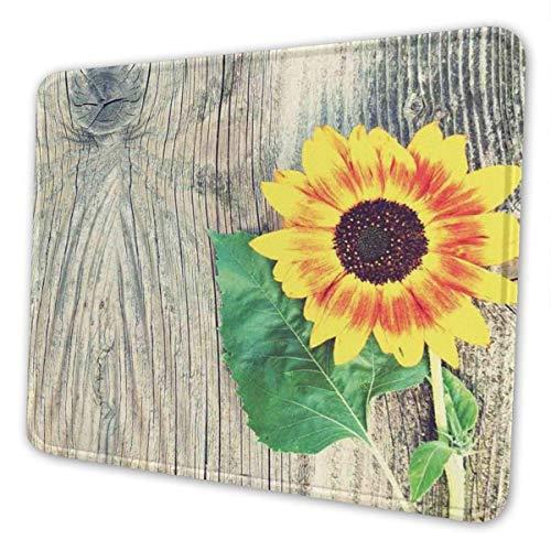 Mauspad Sonnenblume auf rustikalem Holz, für alte Schule, Computer, rutschfest, bunt, rechteckig, Gummi, Gaming-Matte, Laptop, Bürozubehör, Schreibtisch-Dekoration, 25 x 20 cm