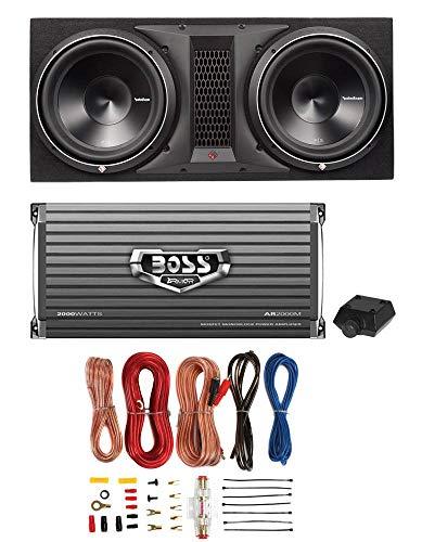 "Rockford Fosgate P3-2X12 12"" 2400W Dual Subwoofer + Box + 2000W Amp + Amp Kit"