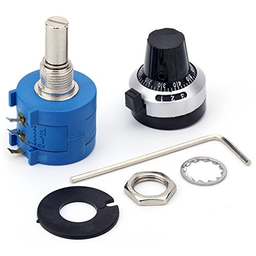 JANSANE 10 Turn Potentiometer 50K Ohm 2w Wirewound Multiturn Adjustable Precision with Rotary Dial Knob 6mm Shaft