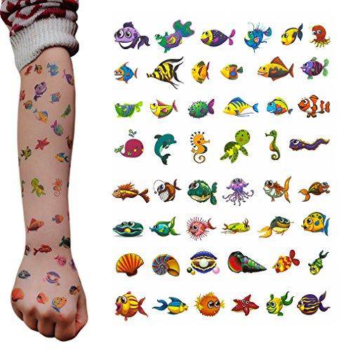 Oblique Unique® Fische Tattoo Set 48 Stück Kindertattoos Tattoo Verschiedene Motive Kinder Spielen