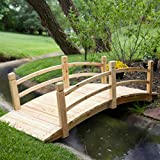 "Home Improvements Natural Wood Finish 72"" Garden Bridge Outdoor Yard Lawn Landscaping Decor"