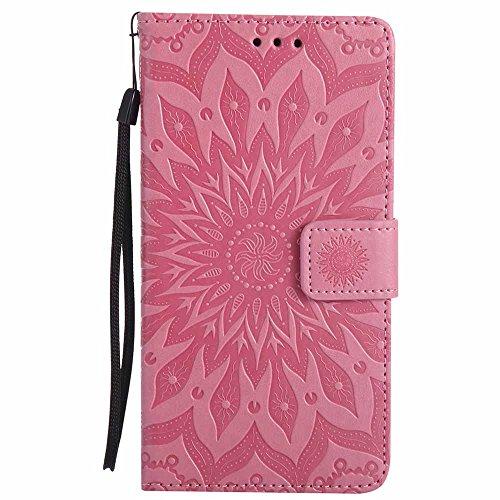 Dfly G4 Hülle, Premium Slim PU Leder Mandala Blume prägung Muster Flip Hülle Bookstyle Stand Slot Schutzhülle Tasche Wallet Case für LG G4, Rosa