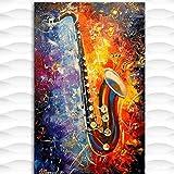 FGVB Cuadro de Lienzo de saxofón Impresiones de Carteles artísticos Cuadros de Pared decoración del hogar -50 * 75 cm