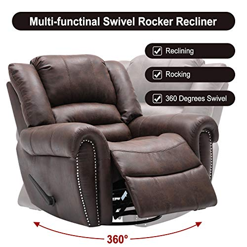 Bonzy Home Recliner Manual Recliner Chair Faux Suede Fabric Swivel Glider Classic Recliner Sofa Chair Home Theater Seating - Bedroom & Living Room Reclining Sofa Chair (Deep Brown)