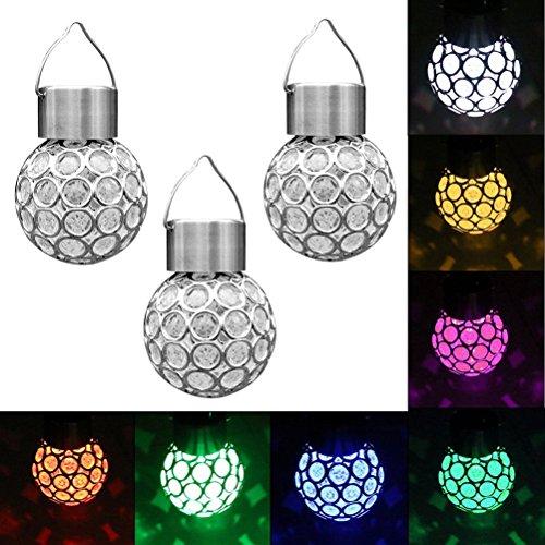 LEDMOMO Solar hängende Kristallkugel-Licht-Farbe, die LED-Licht für Garten-Zuhause-Hochzeitsfest, Satz von 3 ändert