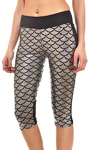 Sister Amy Women's 3D Geometric Scales Print Workout Running Capri Crop Leggings A-Silver Small