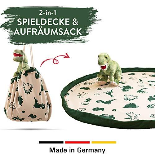 snugo Dino Krabbeldecke, Spielteppich & Aufräumsack in Einem für Kinder & Baby | Ideal für die Aufbewahrung von Spielzeug, Lego und Anderen Spielsachen | Handmade in Germany