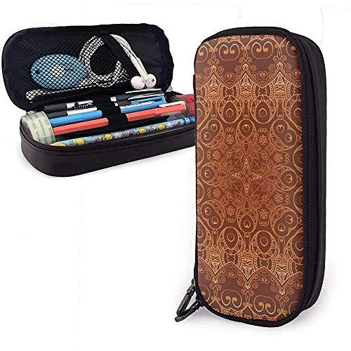 Vintage Spitzen Persisch Arabisch Muster Nette Stift Federmäppchen Leder Große Kapazität Doppelreißverschlüsse Bleistift Beutel Stifthalter Box 20 * 9 * 4 cm