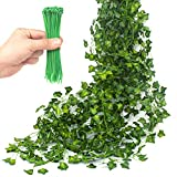 TumivaDeco Artificial Ivy Garland 12 Pcs 84 Ft Total - 50 pcs Green Cable Tie - Fake Ivy Leaves Greenery Vines for Wedding Party Kitchen Garden Wall Decoration - Hanging Plants for Indoor Outdoor Use