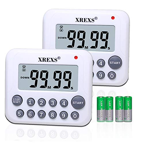 XREXS Digital Kitchen Timer Magnetic Countdown Up Cooking Timer Clock with Magnet Back and Clip, Loud Alarm, Large Display Minutes and Seconds Directly Input-White (2 Pcs, Battery Included) PS-367