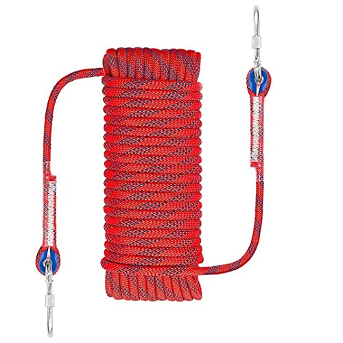 FeelMeet Climbing Rope 10MM Diameter Emergency Escape Rock Hiking Rope Outdoor Safety 20M Rope Mountain Equipment for Camping Boating Surface Rescue Red