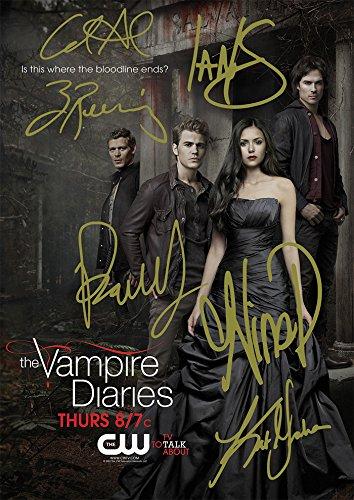 Large The Vampire Diaries TV Show Print - Cast Ian Somerhalder, Paul Wesley, Nina Dobrev, Kat Graham, Candice Accola, Zach Roerig (11.7' x 16.5')