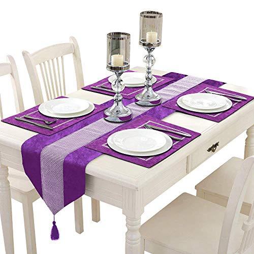 TtS 5 Stück Tischset Samt Tischläufer + Platz-Matten Tischmatte Diamanten Tischdecke Küche Party (Velvet-Lila)