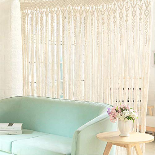 Hainter Boho handgewebte Makramee Türvorhang Vorhang 100 x 200cm Trennwand Fenster Vorhang Fenstervorhang