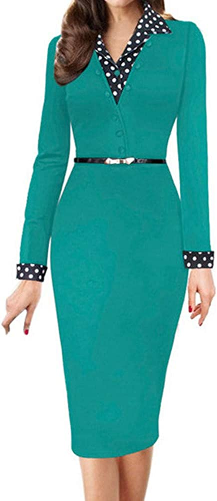 Womens Dresses Deep Turtelneck Button Up Long Sleeve Casual Work Bodycon Pencil Dress Midi Dress Evening Party Cocktail