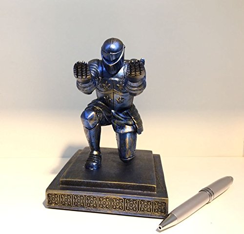 TBWHL Executive Knight Pen Holder with a pen- Personalized Desk Accessory Pen Stand for A Gift - Decorative Pencil Holders Desk Organizer Blue(Base Glue Not Included)