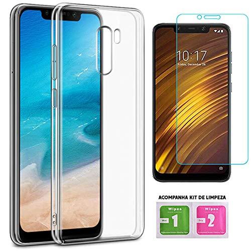 Capa Slim Xiaomi Pocophone F1 + Película de Gel Transparente 100% Com Kit Limpeza Tela - ENCAPAR