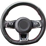 Loncky Black Microfiber Leather Car Steering...