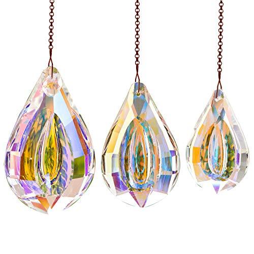 Hey_you 3-pack kristall solfångare prisma hänge regnbågstillverkare ornament solfångare med kedja för solfångare, fönster, trädgård, heminredning (3 tum + 2,5 tum + 2 tum)