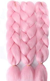 "Imierfa Pink Braiding Hair، Jumbo Braid Hair Pink High Temperature Fiber Kanekalon Braiding Hair Extensions for Twist Braiding Crochet Hair Color Pink 24 ""3PCS"