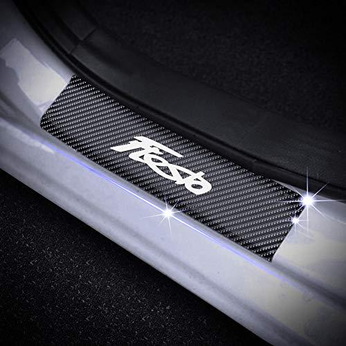 SENYAZON Car Door Sill Scuff Plate for Fiesta Car Welcome Pedal Decoration Sticker (White)