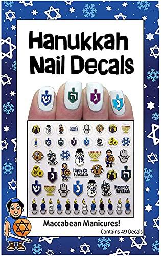 Rite Lite Hanukkah Nail Decals Manicure Nail Decor Chanukah Gift - Hanukkah Decorations Nail Art Kit Hanukkah Gifts for Her