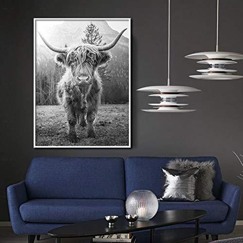 Puzzle 1000 piezas Pintura de la lona arte de la pared en blanco y negro pintura decorativa del arte de la vaca de las tierras altas nórdicas puzzle 1000 piezas paisajes Rompe50x75cm(20x30inch)