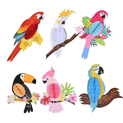 ZHjuju 6 Piezas de Verano Tropical Birds Parrot Decoraciones Colgantes Recortes de Papel de Nido de Abeja para Hawaiano Summer Beach Tiki Bar Fiesta Luau, Fiesta de cumpleaños Decoración