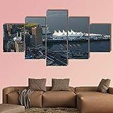 NNNLX Cuadro En Lienzo Arte De La Pared Moderno Posters Decoración para El Hogar 5 Piezas Centro de Vancouver HD Wall Art Imágenes Sala Decoración
