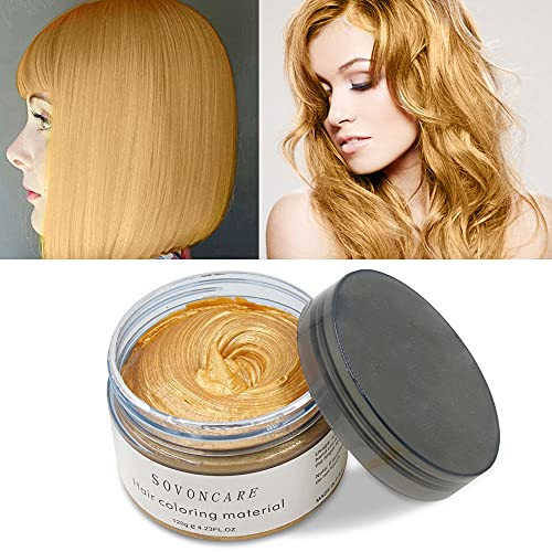 SOVONCARE Hair Wax Color Gold Temporary Hair Dye Natural Hairstyle Cream Hair Pomades for Men Woman and Kids