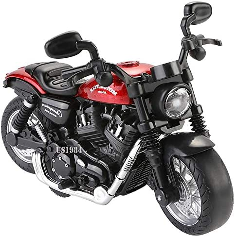 US1984 Imported Die-Cast Metal Sport Bike Metal Bike Pull Back with Movable Steering, Light and Music Great Gift for ...