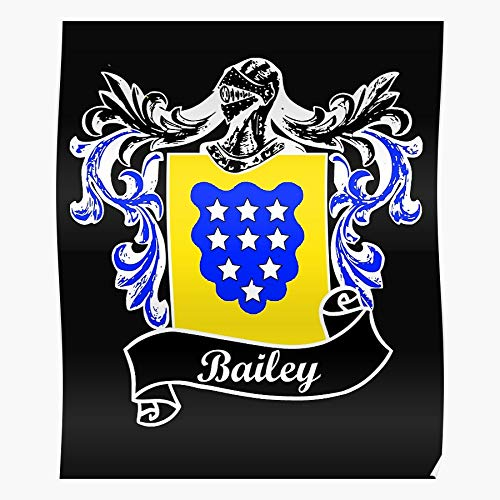 Family Surname Heritage Last Bailey Crest Name Coat Arms of I Fsgshaniyan - Wall Art Posters Printed Modern for Family Bedroom Decor