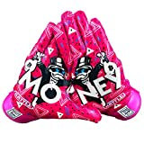 Battle Sports Money Man Receiver Gloves for Youth- Ultra-Tack Sticky Palm Pro-Style Gloves (X-Large)