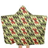 ZHSL Kapuzenhandtuch für Kinder Abstraktes, geometrisches Diamantmosaik-Kinderhandtuch aus weicher Baumwolle mit Kapuze für Mädchen, Kleinkinder, Kleinkinder 51,5 x 31,8 Zoll