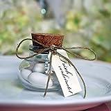 Gastgeschenk Glas mit Korken Hochzeit, 40 ml Vintage Gläschen, DIY Geschenke für Hochzeitgäste, 12 Stück Set mit Herz-Anhänger - 4