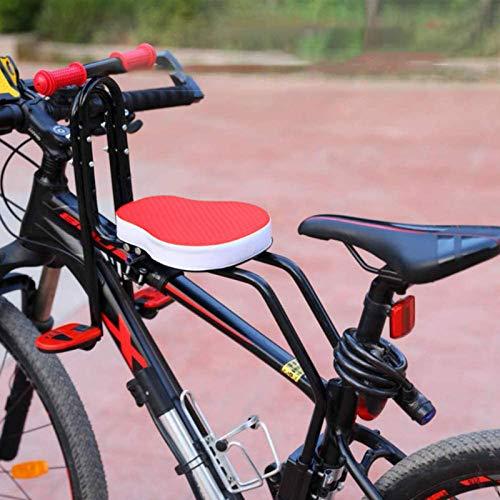 Honeyhouse Seggiolino Bicicletta Anteriore per Bambino | Pieghevole Sedile Seggiolino Anteriore con Braccioli e Pedale | per Bambini 2-6 Anni - Max 50KG (Red)