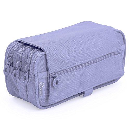 Portatodo Triple de Amplios Apartados Interiores con Cierre de Cremallera Individual (Violeta)